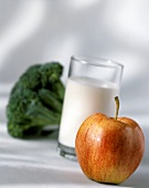 Still Life with Apple and Milk; Broccoli
