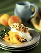 Vanilla Ice Cream and Peach Slices in a Biscuit