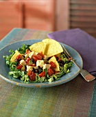 A Serving of Southwestern Salad with Tortilla Chips