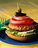Hamburger with Tomato Onion and a Pickle