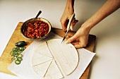 Cutting Tortilla Shell For a Tortilla Pizza