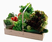Assorted Vegetables in a Wooden Basket