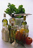 Assorted Salad Dressings Oils and Vinegars; Salad Spinner