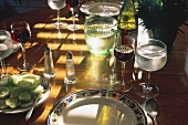 Summer Table Setting with Cucumber Slices