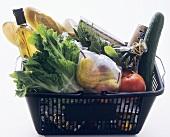 A Black Market Basket Filled with Fresh Groceries