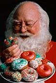 Santa Claus Eating Christmas Donuts