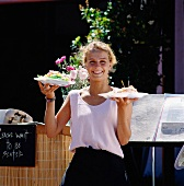 Waitress Serving Food Outdoors