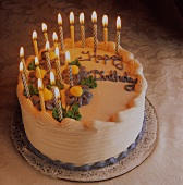 Birthday Cake with Many lit Candles