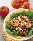Shrimp Salad over Lettuce; Lemon Slices