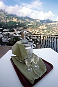 Two Glasses of White Wine on a Balcony; Mountain View