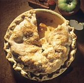 Apple Apricot Pie with a Slice Missing