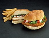 Chicken Burger on a Bulkie Roll; French Fries