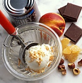 A Scoop of Vanilla Ice Cream in a Bowl; Sundae Toppings