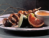 Grilled Chicken Skewer with Dipping Sauce; Lime and Orange