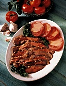 Sliced Flank Steak; Tomatoes in a Honey Mustard Vinaigrette