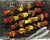 Grilled Beef Kabobs with Tomatoes Squash and Onion