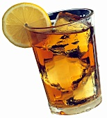 A Glass of Ice Tea with a Lemon Slice
