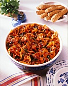 Farfalle and Grilled Chicken Salad with Tomato Sauce