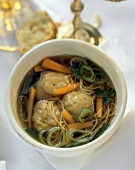 Matzoh Ball Soup with Carrots and Parsley