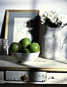 Still life with a Bowl of Granny Smith Apples