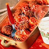 Wagon Wheel Pasta With Meatballs