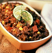 Dish of black bean chili