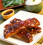 Asian Style Beef Ribs with Green Beans and Rice