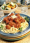 Spaghetti Topped with a Pile of Meatballs