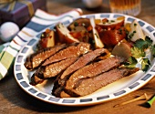 Sliced Beef Steak with Red Potatoes