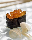 Sushi with Salmon Roe and Ginger Slices