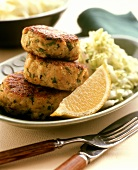 Broiled Crab Cakes with Cabbage