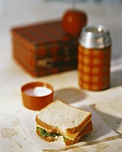 Bologna and Cheese Sandwich with Lunch Box and Thermos