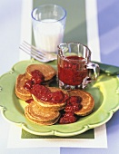Buckwheat Pancakes Covered in Raspberry Sauce