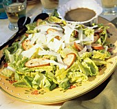 Caesar Salad on a Yellow Platter