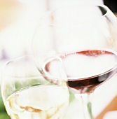 Glasses of Red and White Wine; Soft Focus