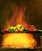 Grilled Peppers on an Open Flame
