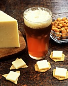 Cheese and Crackers with a Glass of Beer