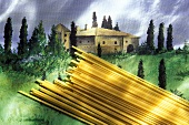 Dried Linguine on a Painting of Tuscany