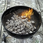 Round Grill with Hot Coals and Flames