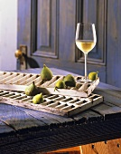 Glass of Chardonnay with Fresh Figs