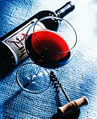 Glass of Zinfandel with Bottle and Corkscrew