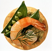 Cracker with Pea Pod and Shrimp
