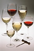 Assorted Types of Wine in Wine Glasses; Corkscrew