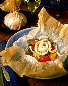 Turbot and Vegetables Cooked in Parchment