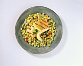 Grilled Salmon on a Bed of Vegetables