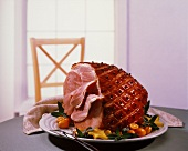Partially Sliced Glazed Ham