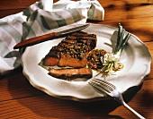 New York Strip Steak Partially Sliced