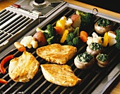 Chicken Breasts and Vegetables on Countertop Grill