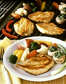 Chicken Breasts with Mixed Vegetables and Stuffed Mushrooms