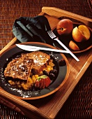 French Toast and Fresh Fruit on Wooden Tray